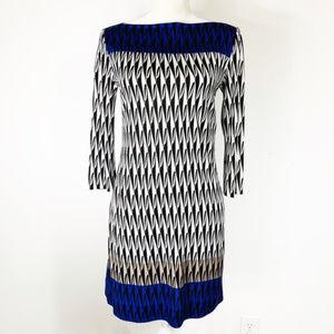DVF Ruri Silk Shift Harlequin Colorblock Dress